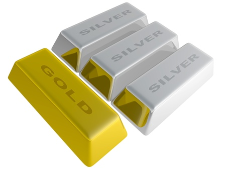 Silver and gold ingots isolated over a white background photo