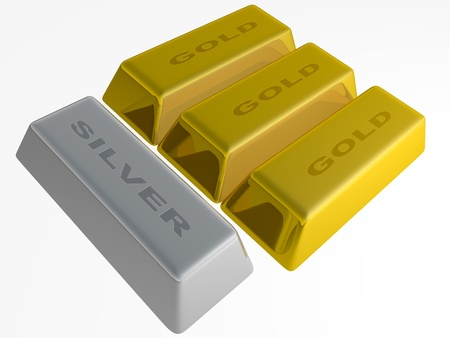 silver ingots: Gold and silver ingots isolated over a white background