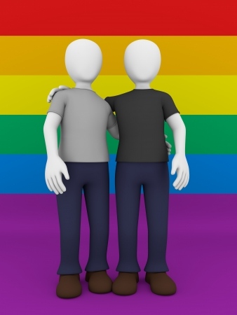 anonym: Front view of a gay couple over the gay flag