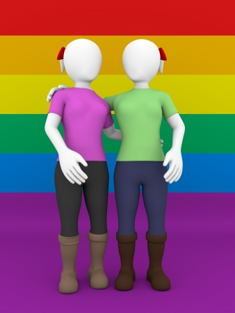 gay girl: Front view of a lesbian couple over the gay flag