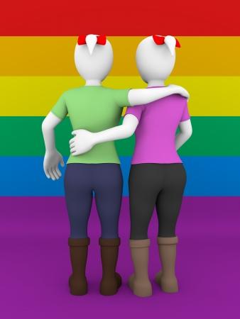 homosexuales: Vista trasera de una pareja de lesbianas sobre la bandera gay Foto de archivo