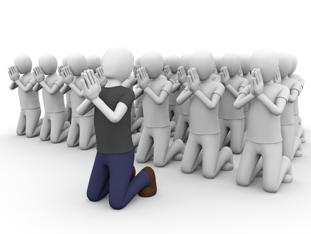 piety: A big group of people praying together. Stock Photo