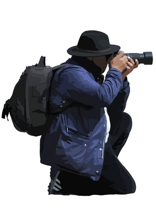 A kneeling photographer is taking a photo   Vector