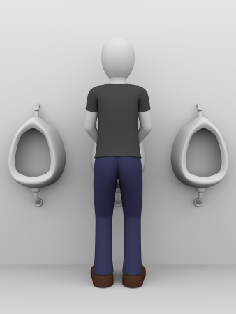 urinating: a man is pissing in a public urinary