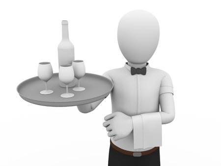 a waiter holding a tray with a bottle and glasses