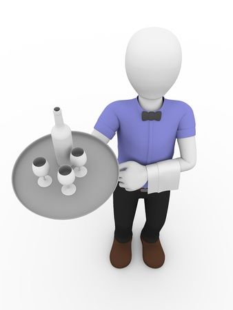 a waiter with a napkin is standing and holding a tray with a bottle and glasses