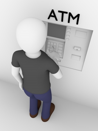 withdraw: A man is touching the buttons of an ATM to get cash Stock Photo