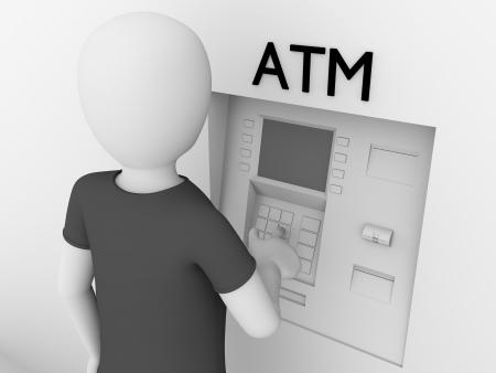automatic transaction machine: Un hombre está tocando las teclas de un cajero automático para obtener dinero en efectivo Foto de archivo