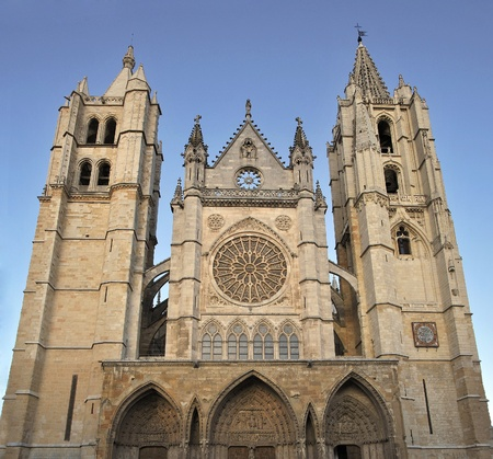Facade of the catedral of Leon. Castilla y Leon, Spain photo