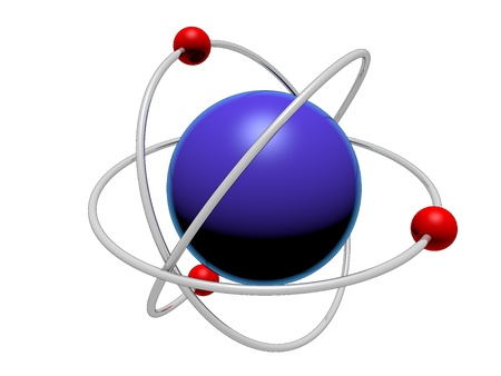 nucleus: Atom  in blue isolated over a white background.