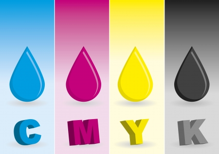 inkjet printer: CMYK drops. Cyan, magenta, yellow and black tints for commercial printing