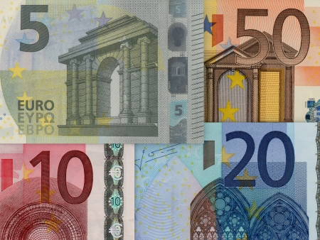 Detail of the ciphers of some euro banknotes photo