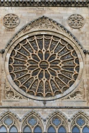 rose window: Particolare del rosone della Cattedrale di Leon, Spagna Archivio Fotografico