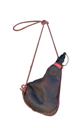 Traditional wineskin made of leather. Typical spanish portable receptacle for wine. In Spain is called Bota Stok Fotoğraf