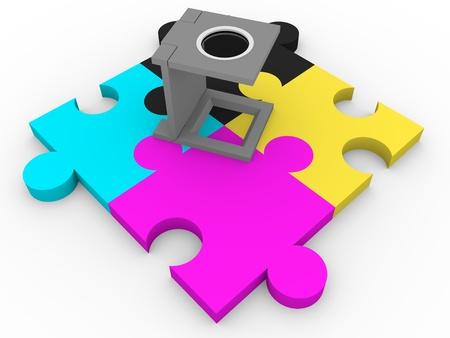 CMYK puzzle pieces and a loupe. Graphic arts elements Archivio Fotografico