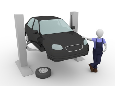 garage automobile: Un m�canicien � l'atelier avec une voiture suspendue dans l'ascenseur