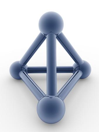 pyramidal: Shiny pyramidal structure in blue. Metallic icon Stock Photo