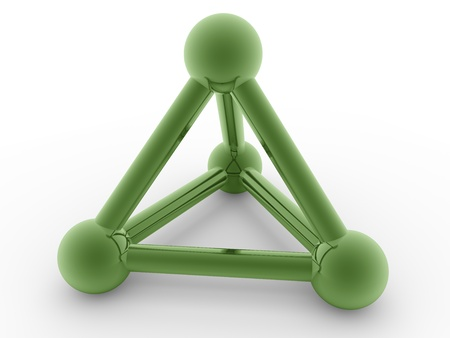 Shiny pyramidal structure in green. Abstract symbol and icon photo