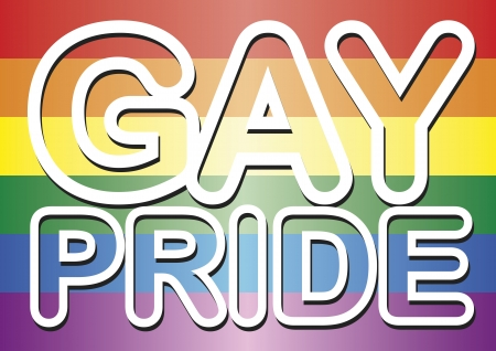 gay pride flag: Gay pride words over the gay flag Illustration