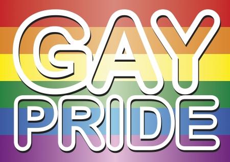 Mots de fierté Gay-dessus du drapeau gay