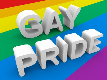Gay pride words in white over the gay flag photo