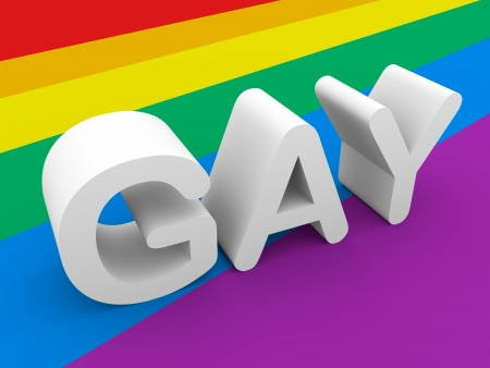 The word gay in white is over the gay flag photo