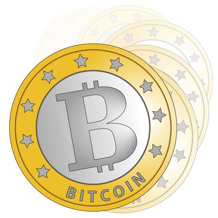 bit: A group of bitcoins over a white background