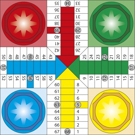 Board of parchis, typical spanish board game  Parcheesi, ludo Vector