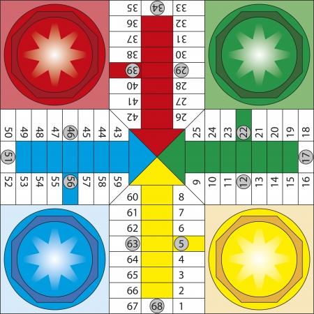 Parchis、典型的なスペイン語ボードゲームのすごろく、ルードのボード  イラスト・ベクター素材