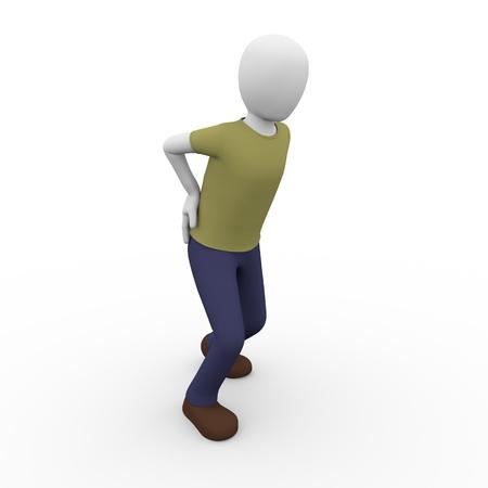back ache: A man is suffering a back ache