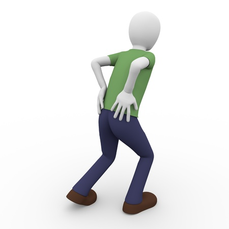 A man is walking and suffering a back ache photo