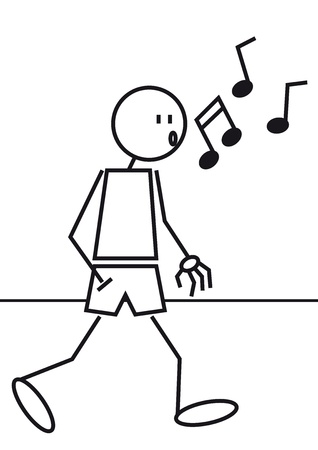 walking stick: A stick figure is walking and whistling with a hand in the pocket Illustration