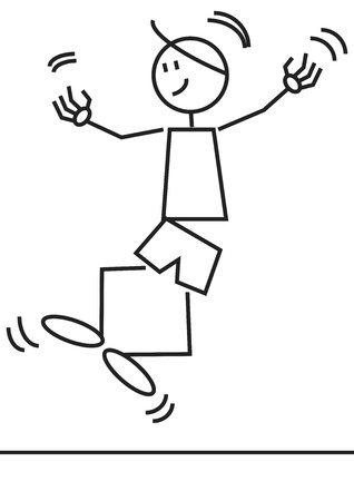 male figure: Stick figure of a happy boy jumping  Illustration