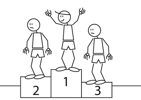 second place: Illustration of three stick figures in the podium. One is the winner