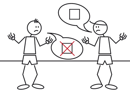 argumentation: Illustration of two stick figures in a controversy or discussion Illustration