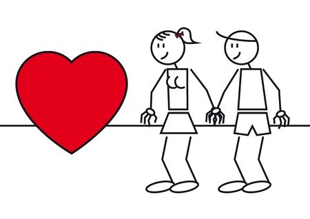 Illustration of two stick figures. A couple in love with a big heart Vector