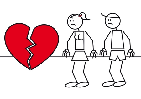divorcing: Illustration of two stick figures. A couple with a big heart break Illustration
