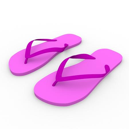thongs: 3d render of a pair of thongs in pink. Summer footwear. Chanclas