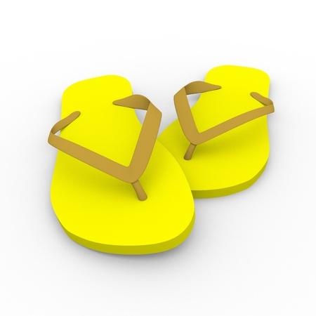 thongs: 3d render of a pair of thongs in yellow. Summer footwear. Chanclas Stock Photo