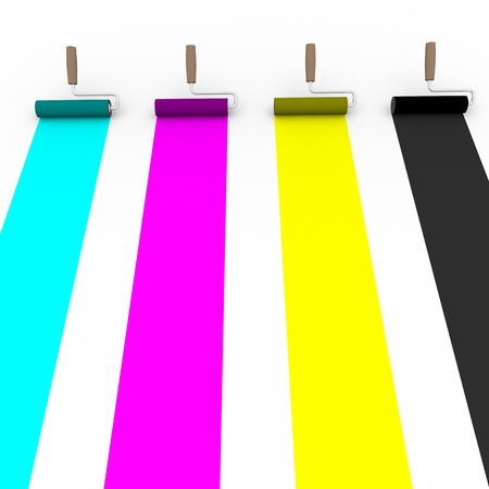 4 color printing: Frontal view of four paint rollers with cmyk colors. Graphic arts and prepress concept