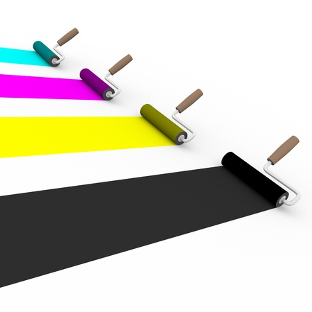 4 color printing: side view of four paint rollers with cmyk colors. Graphic arts and prepress concept