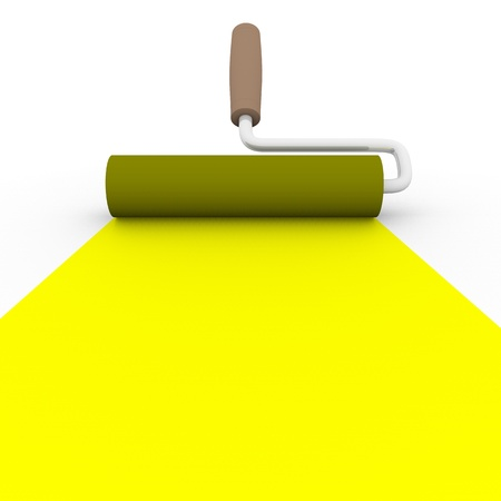 4 color printing: frontal view of a paint roller with yellow ink