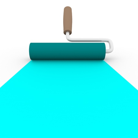 4 color printing: frontal view of a paint roller with cyan ink
