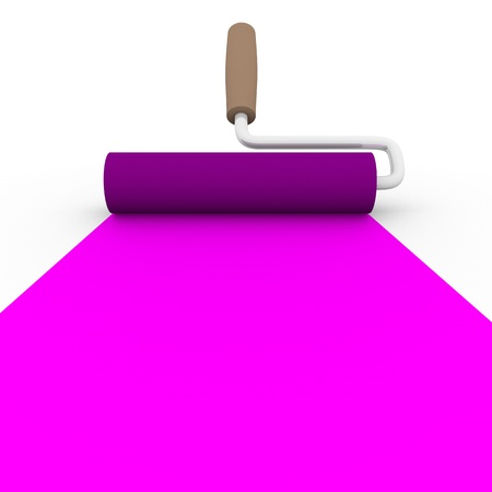 frontal view: frontal view of a paint roller with magenta ink Stock Photo