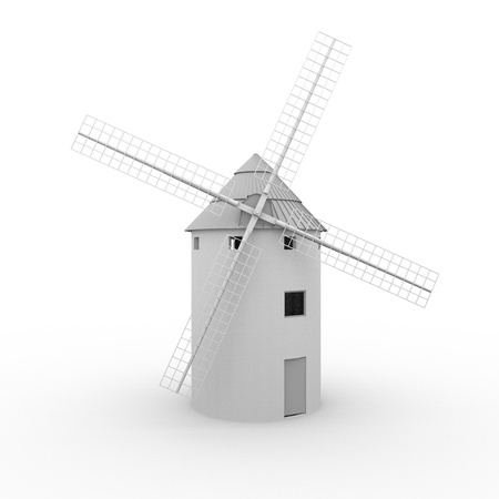 wind mills: Illustration of a typical spanish windmill. La Mancha, Spain