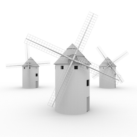 don: Three typical spanish windmills like the ones that Don Quijote de la Mancha loses a combat thinking they are giants