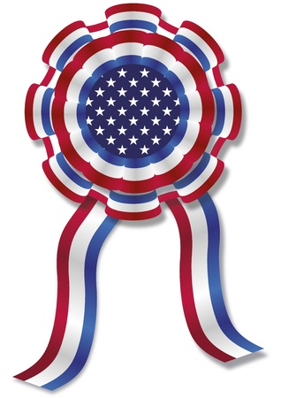 illustration of a cockade with american colors, stars and stripes illustration
