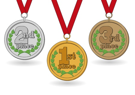 cooper: illustration of three medals in gold, silver and cooper. Achievements for first, second and third place Stock Photo