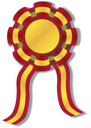 illustration of a cockade with spanish colors, red and yellow. Rosette ribbon illustration