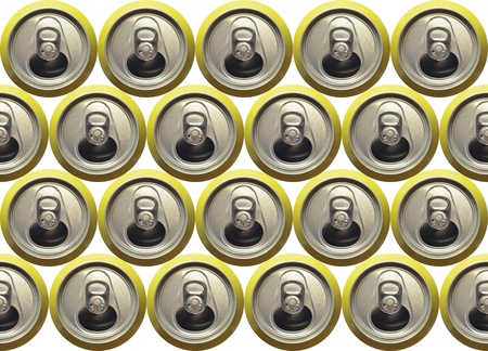 carbonated: Background made with the top view of some open refreshment cans in yellow. Stock Photo